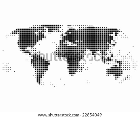 World map in squares - stock vector