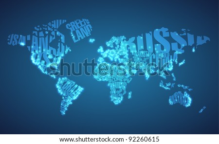World Map in Typography with City Lights - stock vector