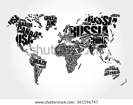 World Map in Typography word cloud concept, names of countries - stock vector