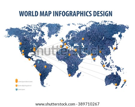 world map infographic business. vector illustration - stock vector