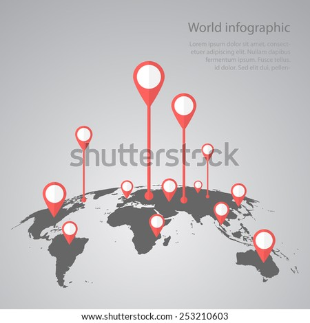 world map infographic infographics vector earth design  - stock vector