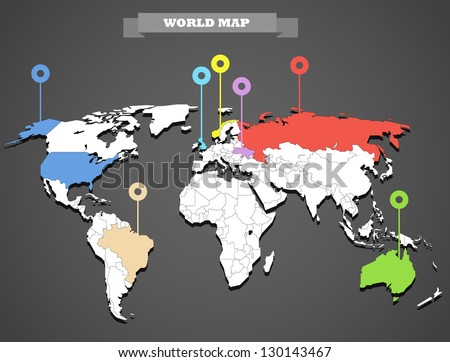 World map infographic template. All countries are selectable - stock vector