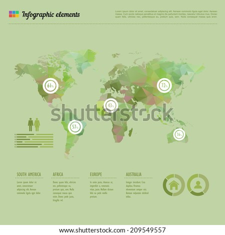 World map infographic template showing the demographic areas with proportionate percentages of statistics and text columns - stock vector