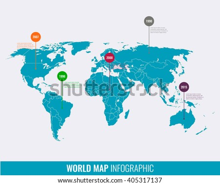 World map infographic template. Vector - stock vector
