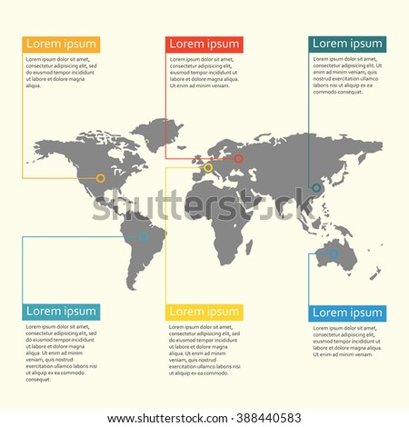 World map infographics template. Graphic information and infographic design elements. Vector illustration. - stock vector