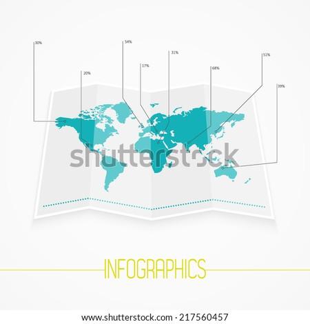 World map infographics. Vector eps10. - stock vector