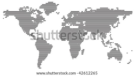 World map made from lines - stock vector