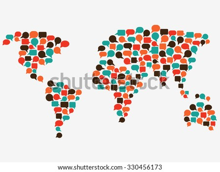World map made of colorful speech bubbles. Translating, language interpreter and communication vector concept illustration - stock vector