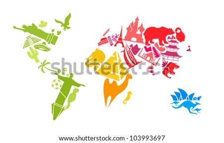 World map made of landmarks - stock vector