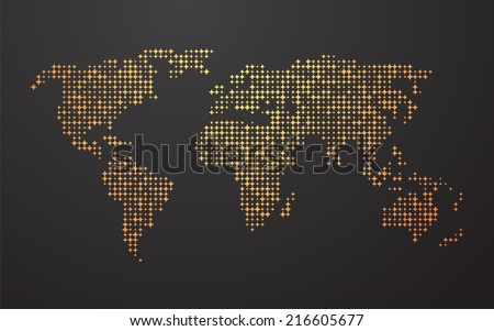 world map made ??up of the yellow orange shapes - stock vector