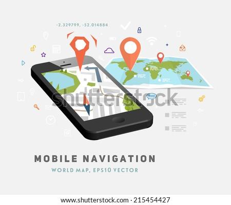 World Map. Mobile GPS Navigation. Mobile Phone. Mobile Technologies Concept.  - stock vector