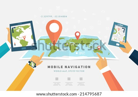 World Map. Mobile GPS Navigation. Tablet PC and Mobile Phone. - stock vector