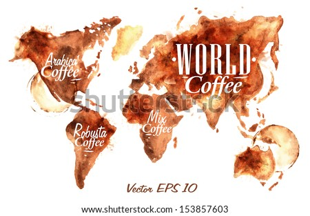 World Map of coffee drawn pour coffee with the inscription arabica coffee, Robusta coffee  with splashes and blots prints Cup vector 10 - stock vector