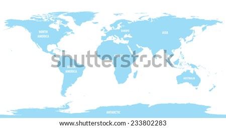 World Map of Continents With Light Color - stock vector