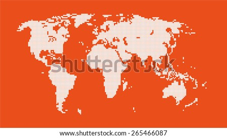 World map of dots - stock vector