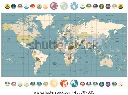 World Map old colors illustration with round flat icons and globes. All elements are separated in editable layers clearly labeled. - stock vector