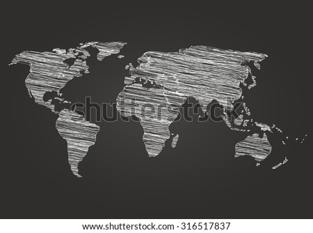 World map on a dark background hatching. Vector illustration. Map drawn in chalk on a blackboard. World map Detail Vector Line sketch - stock vector
