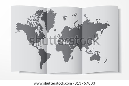 World map on a folded sheet of paper - stock vector