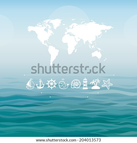 World map on a sea background with sea icons - stock vector