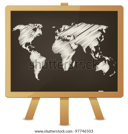 World Map On Classroom Blackboard/ Illustration of an outlined flat world map with chalk on a wood blackboard - stock vector