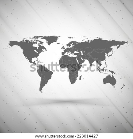 world map on gray background, grunge texture vector illustration. - stock vector