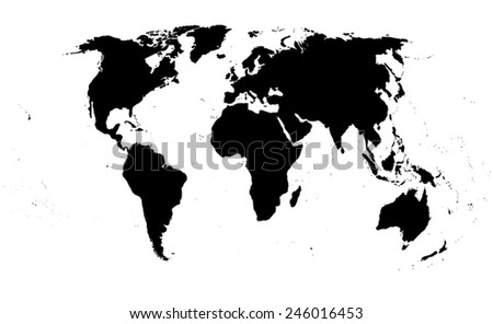 world map on white background. Black silhouette isolated. Vector illustration - stock vector