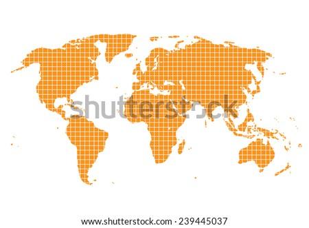 World Map Orange square - stock vector