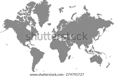World map outlines in grey background for designing brochure template, advertising design for tourist map, and web-page template or construction - stock vector