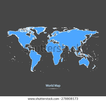 World map outlines in highlighted grey background, vector map of world in highly contrasted design for brochure template, tourist map, advertisement, web page design, science and education uses - stock vector