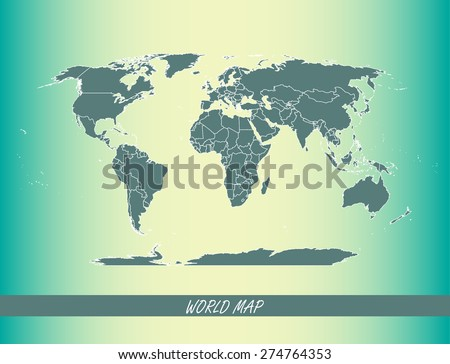 World map outlines on an abstract background for designing brochure template, advertising design for tourist map, and web-page template or construction - stock vector