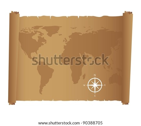 world map over old paper with compass rose. Vector illustration - stock vector