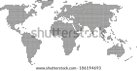 World Map (Points) - stock vector