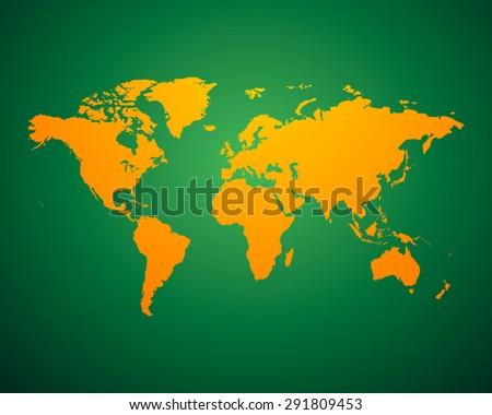 World Map political orange green background. Vector illustration EPS-10 - stock vector