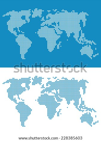 World map round dots. Abstract illustration in flat style. Globes business background - stock vector