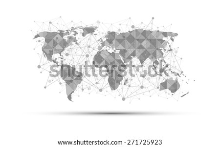world map science concept abstract on white background - stock vector