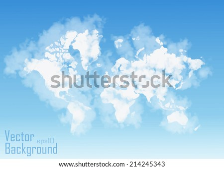 World map shaped clouds - Vector - stock vector