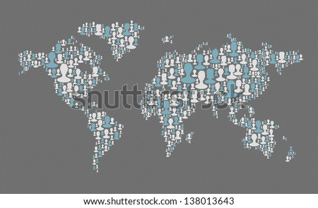 World map. Social media concept. Composed from many people silhouettes, vector - stock vector