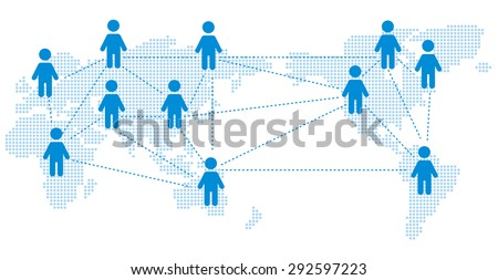 World map Social networking service Vector - stock vector