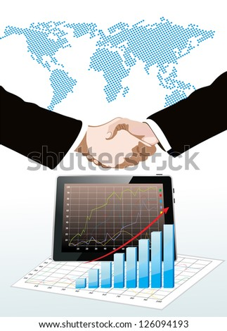 World map, tablet pc computer showing a spreadsheet with some 3d charts over it and handshake - stock vector