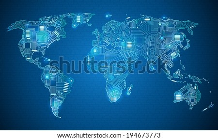 World map technology style digital world with electronic systems - stock vector