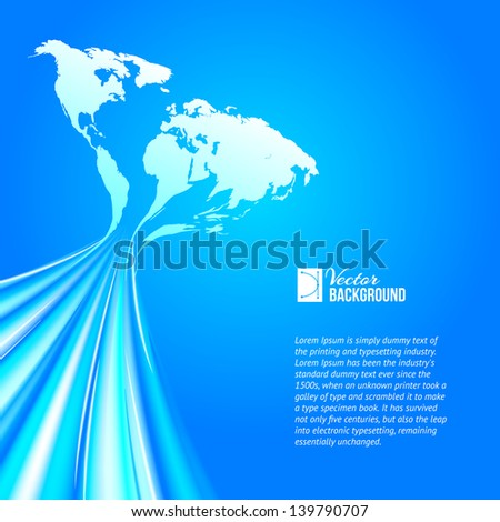 World map technology style. Vector illustration, contains transparencies, gradients and effects. - stock vector