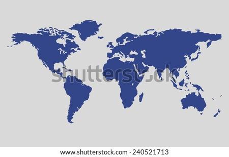 world map vector blue color, map vector - stock vector