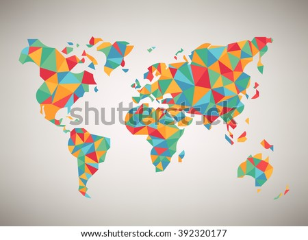 World map, vector. Cool abstract colorful stylized world map background in polygonal style. Globe map low poly graphic multicolored illustration - stock vector