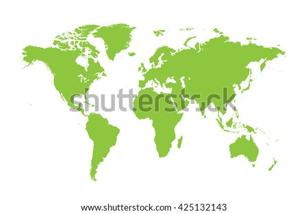 World map vector flat green colors - stock vector