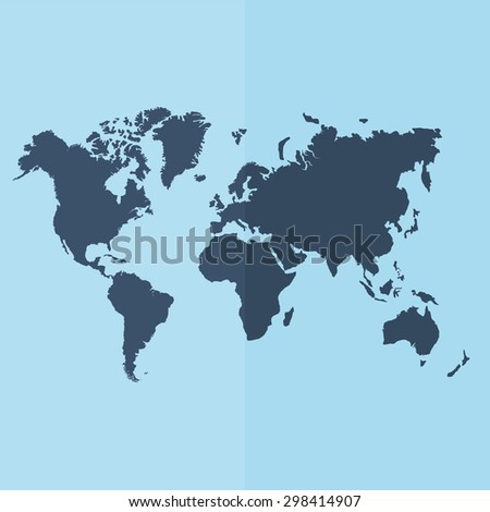 World map vector icon. Flat design - stock vector