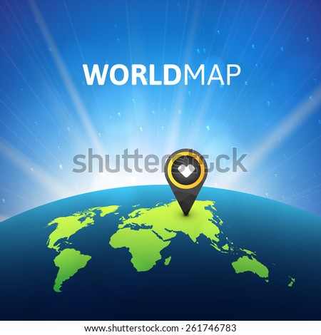World map vector illustration, infographic design template, planet earth in space with sun - stock vector