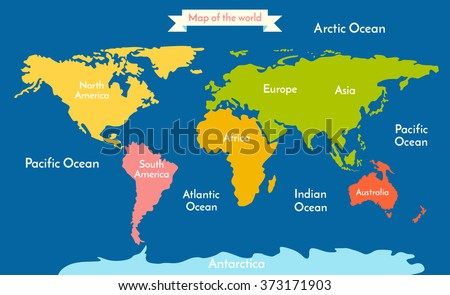World map. Vector illustration with the inscription of the oceans and continents. Continents different colors. - stock vector