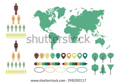 World map vector info graphic set. Geo navigation template elements and point sign.  - stock vector