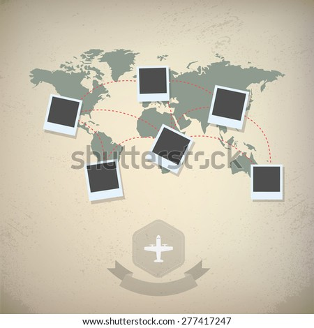 World map with blank photo frames. Traveling concept design, vintage looks. Eps10 vector illustration - stock vector
