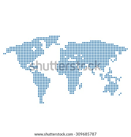 World map with blue circles - stock vector
